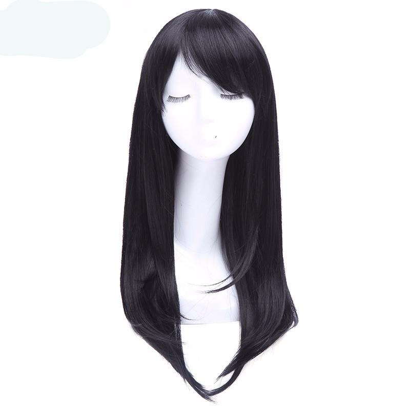 Wig 26 inch Long Black Wigs Straight With Side Bang  Wigs Synthetic Hair