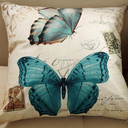 Butterfly Linen Cushion Cover Pillow Cover