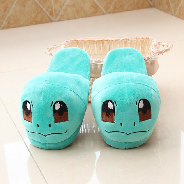 Anime Cartoon Pokemon Slippers  Plush Shoes Home Sky Blue / 7