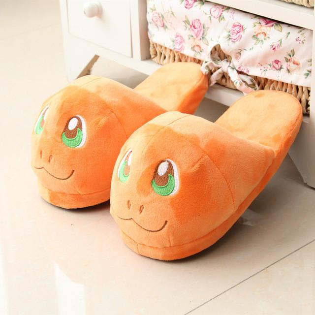 Anime Cartoon Pokemon Slippers  Plush Shoes Home Orange / 7