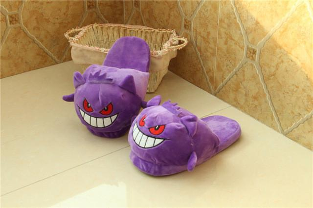 Anime Cartoon Pokemon Slippers  Plush Shoes Home Purple / 7