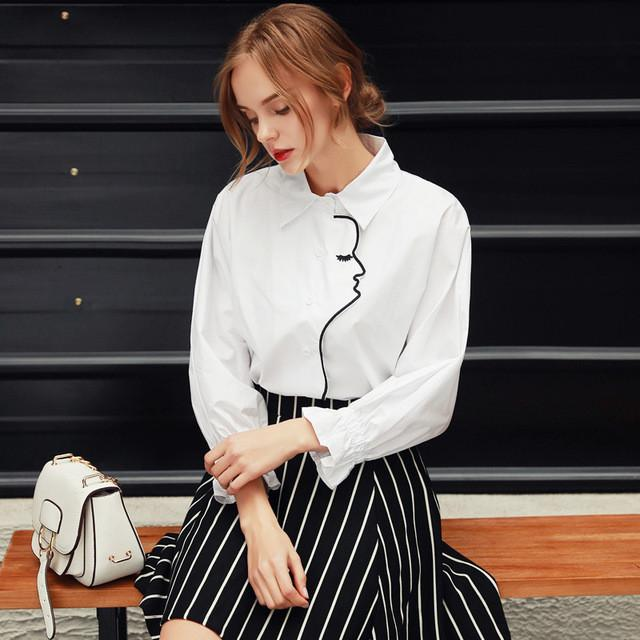 Ladies  Shirt Spring Elegant Plus Size Lady Shirts Blouse Casual Shirt Vintage Women Tops White / S
