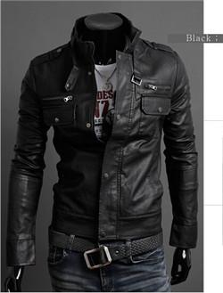 black / M Slim Style Male Faux Leather Jacket