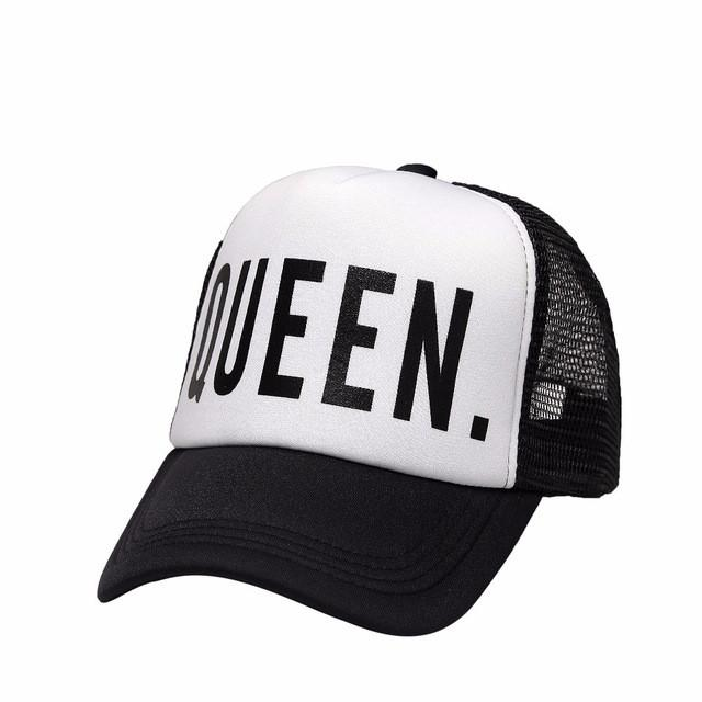 KING QUEEN Baseball Cap Print Men Women Polyester Mesh Summer Visor Snapback Caps White Black