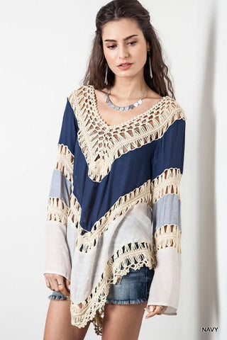 Bohemian Lace Crochet Blouses for women long flare sleeve fashion t shirt vintage handmade knitted female t-shirt