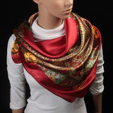 Women  90x90cm Imitation Silk Square Scarf High Quality Brand Shawl Hijab