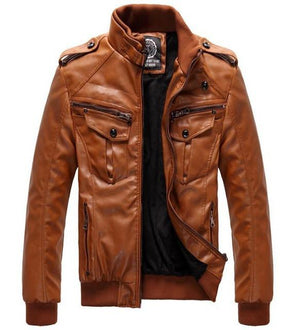 Tan Motorcycle Mens Jacket Overcoat Warm Plush Lined Interior