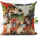 Factory Direct  Cute Farm Cat Printing Linen Square Cushion Cover