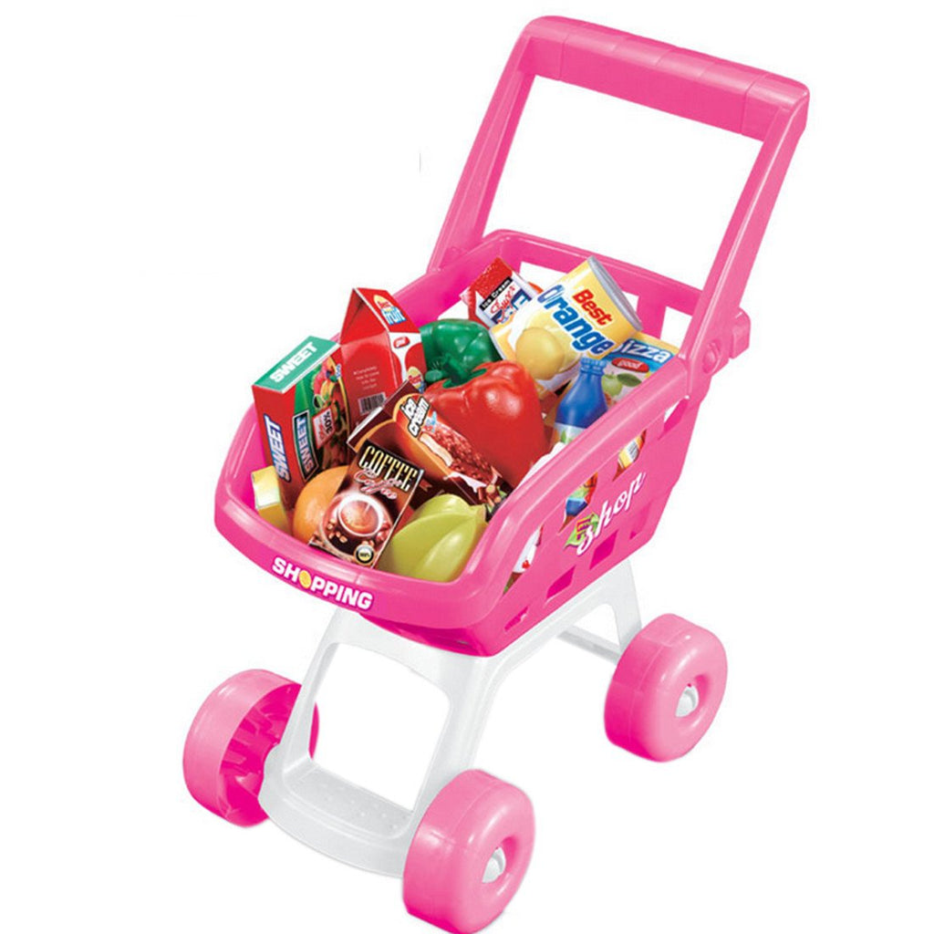 Toy  Shopping Cart Storage Box Shopping Trolley with Grocery Food