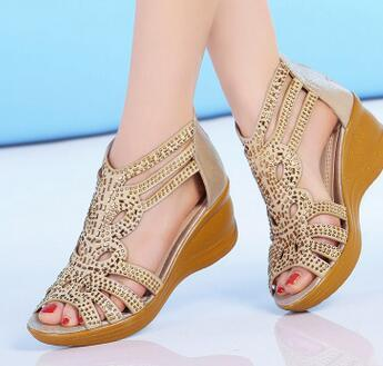 Gold / 5 Comfortable Wedged Sandals Leather Peep Toe Cowhide Shoes