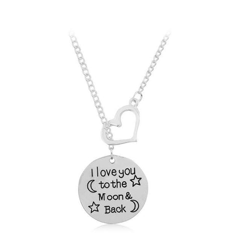 I LOVE YOU TO THE MOON Metal Pendant Necklace