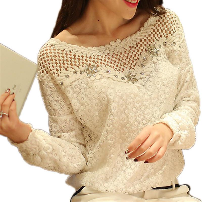 Long Sleeve Lace Floral Blouse Shirts Fashion Casual Crochet Hollow Out Tops Blusas Plus Size S-5XL