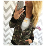 Bomber Jacket Army  Long Sleeve Pockets Basic Coat Casual Zipper Outwear