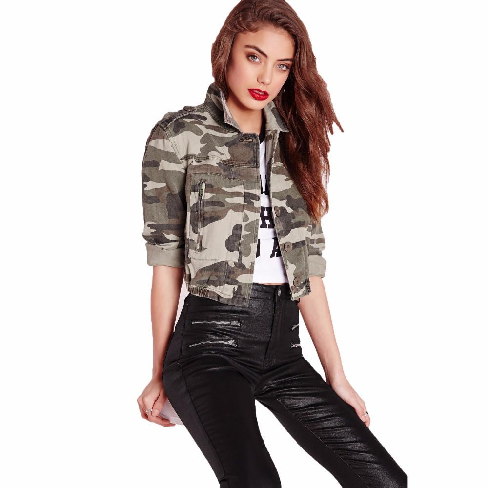 Ladies Camo Jackets Single Breasted Coats Military Style