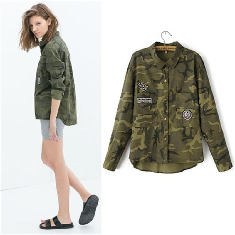 Fashion women's novel leisure long-sleeved camouflage slim embroidered coat jacket high quality Female