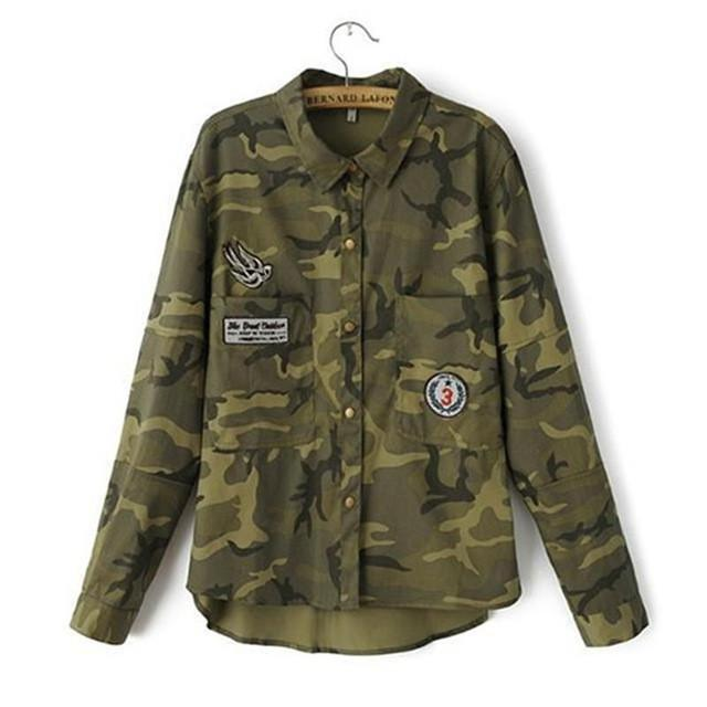 Fashion women's novel leisure long-sleeved camouflage slim embroidered coat jacket high quality Female Army Green / S