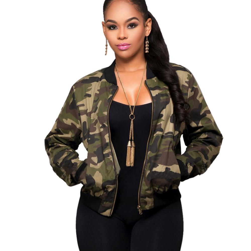L Army Green Bomber Jackets Women Camouflage Printed  Basic Coats