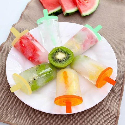 8-in-1 1set  Ice cream pop mold frozen icy ice-lolly popsicle sticker and holders ice pop block maker set form for popsicle