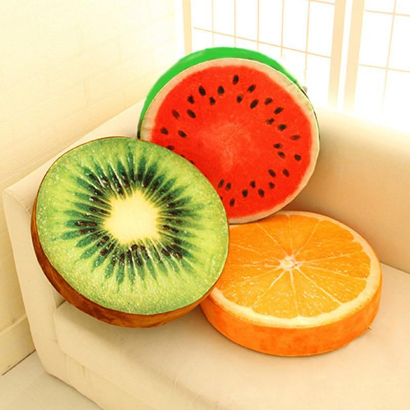 A / 33CM 3D Fruit  Kitchen Office Chair Car Seat Back Pads Cushion