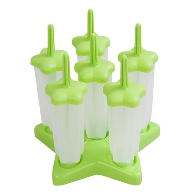 6 Pcs DIY Reusable Frozen Ice Pop Mold Ice Cream Molds Maker with Base Tray