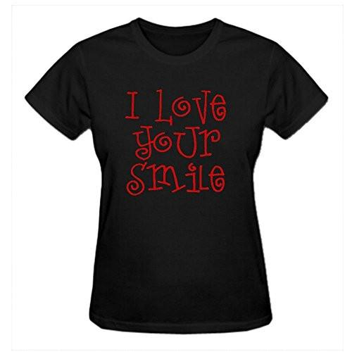 Black / S T Shirt Cute Smile Quotes I Love Your Smile Design Tee