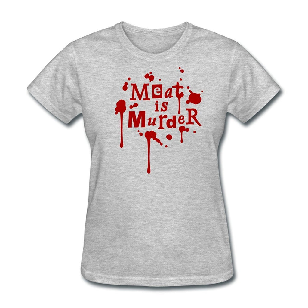 Women Meat Is Murder Quote Tee Shirts Black / S