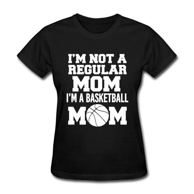 Black / S Only4U Funny T Shirt Slogans Basketbaling Mom Funny Quote Comfort Soft Shirt For Women
