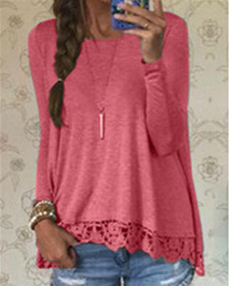 Long Sleeve Casual Tops Sexy Lace Crochet Shirts Plus Size