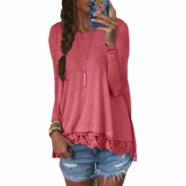 Long Sleeve Casual Tops Sexy Lace Crochet Shirts Plus Size Red / S