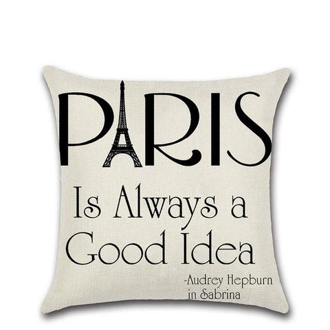 Cushion Linen cotton pattern Cushion Printed Paris/moon Decorative Pillows for Sofa home decor Pillowcase