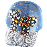 High quality Full Crystal Colorful Big Butterfly Denim Baseball Cap Bling Rhinestone hip hop Adjustable Snapback Hat for women