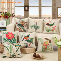Birds Print Cushion Cover Design Flower Polyester Home Decor
