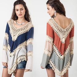 Blouse  Bohemian Shirt  Crochet Lace Zig Zag Summer Beach Poncho Coverup