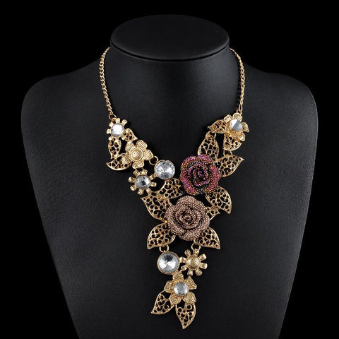 Vintage Gold Plated Rose Rhinestone  Pendants Link Accessories Choker Necklace Women