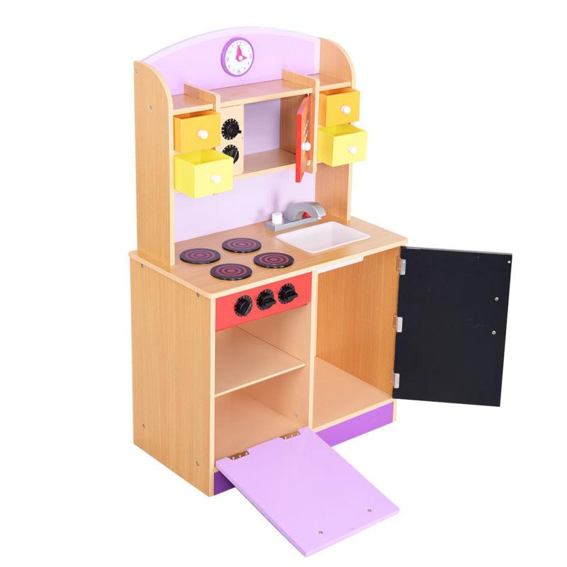 Wood Kitchen Toy Kids Pretend Play Set Toddler Wooden Playset New