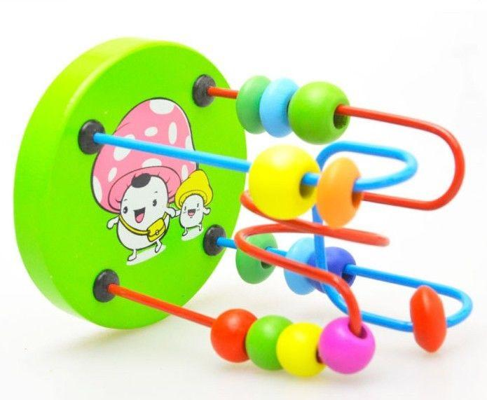 1PC New Children Kids Baby Colorful Wooden Mini Around Beads Educational Toy