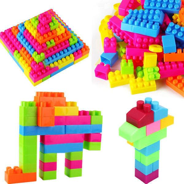 80Pcs Plastic Children Kid Puzzle Educational Building Blocks Bricks Toy