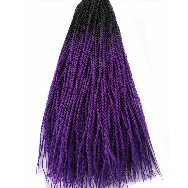 Senegalese Twist Braids T1B/Purple / 24inches / 1Pcs/Lot 1 Pack Synthetic Senegalese Twist Braids Extensions