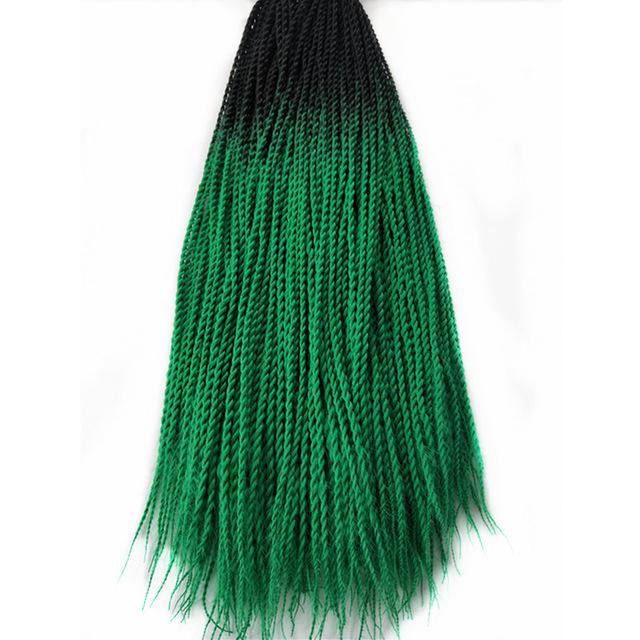 Senegalese Twist Braids T1B/Green / 24inches / 1Pcs/Lot 1 Pack Synthetic Senegalese Twist Braids Extensions