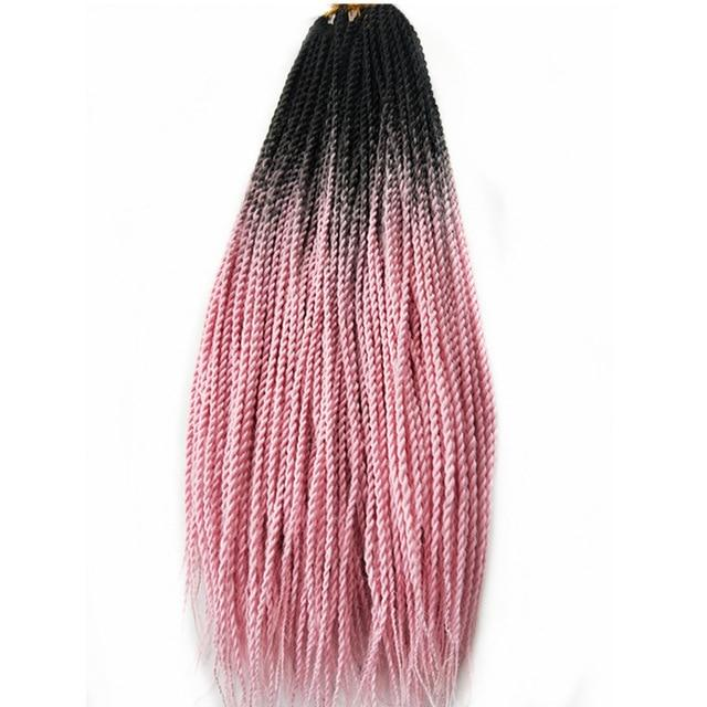 Senegalese Twist Braids T1b/pink / 24inches / 1Pcs/Lot 1 Pack Synthetic Senegalese Twist Braids Extensions