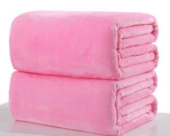 003 / 180x200cm Throw Blankets Solid  Flannel Plush Blanket