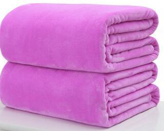 004 / 180x200cm Throw Blankets Solid  Flannel Plush Blanket