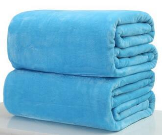 006 / 180x200cm Throw Blankets Solid  Flannel Plush Blanket