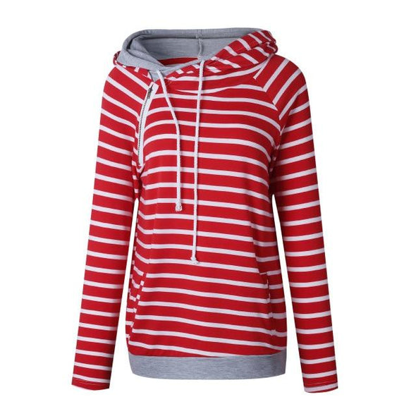 Hoodies & Sweatshirts Striped Patchwork Pullover Warm Long Sleeve Hoodie Blouse 0598red / S
