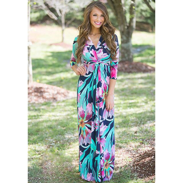 Deep V Neck Beach Casual Tunic Floral Printed Maxi Dress 1113 green / S