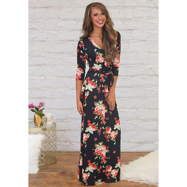 Deep V Neck Beach Casual Tunic Floral Printed Maxi Dress 1115 black / S