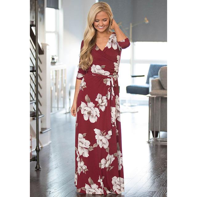 Deep V Neck Beach Casual Tunic Floral Printed Maxi Dress 1116 purplish red / S