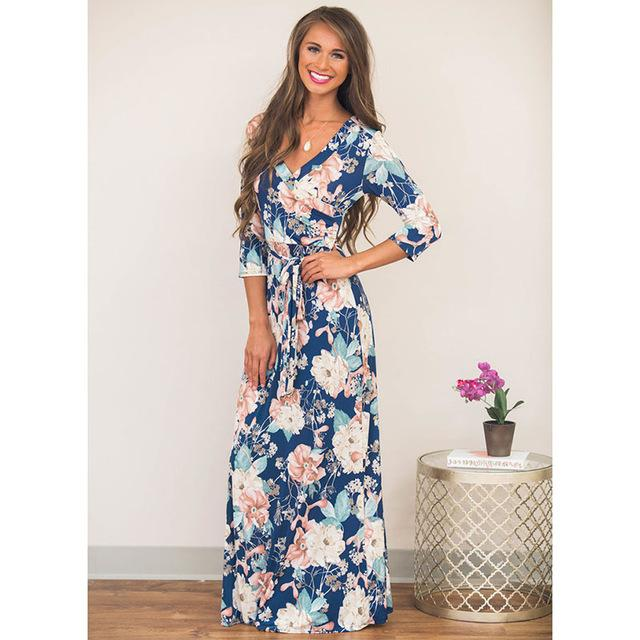 Deep V Neck Beach Casual Tunic Floral Printed Maxi Dress 1117 royal blue / S