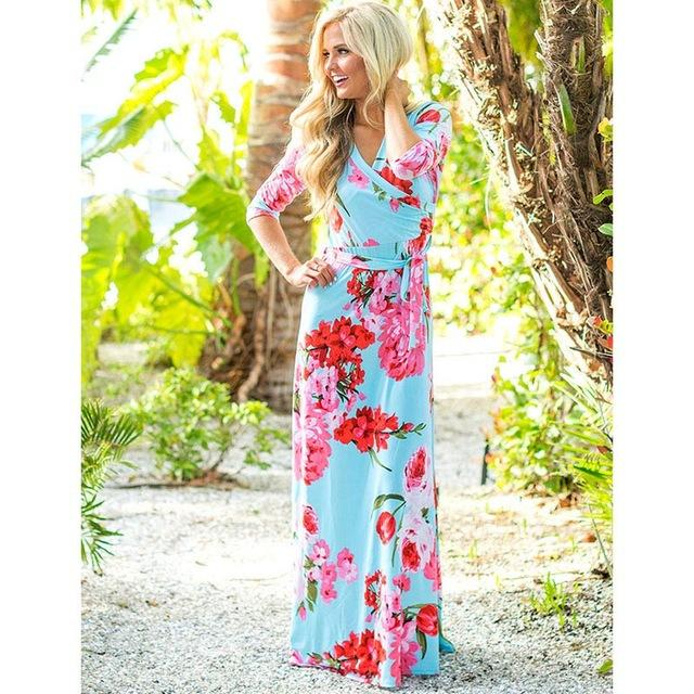 Deep V Neck Beach Casual Tunic Floral Printed Maxi Dress 1118 light blue / S