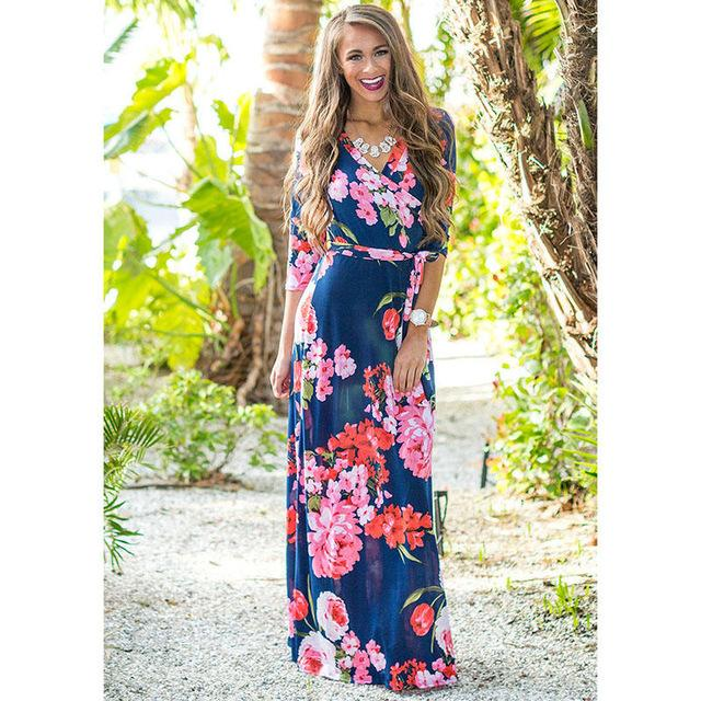 Deep V Neck Beach Casual Tunic Floral Printed Maxi Dress 1118 royal blue / S